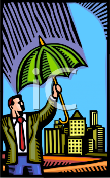 Man Holding an Umbrella As Protection or Insurance