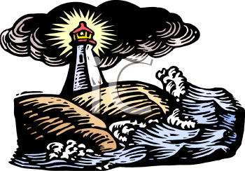 Lighthouse on the Coast in Stormy Weather and Rough Seas - Nautical Safety