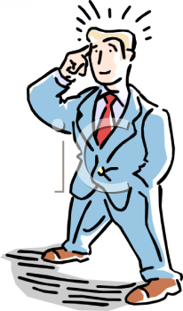 Businessman Pointing to His Head As He Thinks about How to Solve a Problem