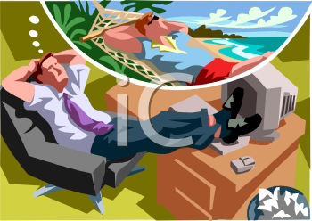 Man at Work Daydreaming about Being on Vacation at the Beach