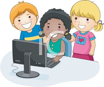 Three Little Kids Having Fun with the Computer