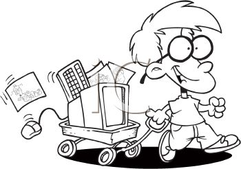 Coloring Page of a Little Nerd Boy with His Computer in a Wagon