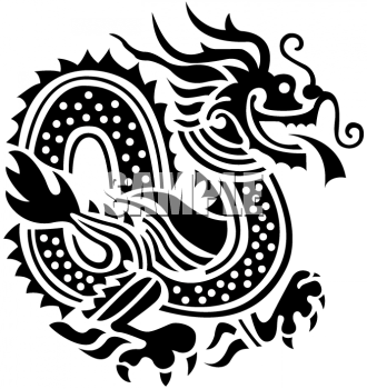 Oriental Asian Dragon in Black and White