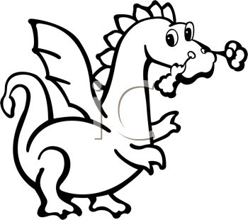 Fire Breathing Dragon Drawn in a Cartoon, Coloring Page Style