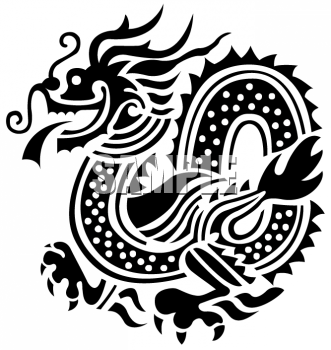 Firebreathing Asian Dragon Silhouette