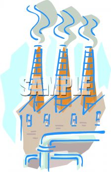 Chimneys or smokestacks of a factory emitting pollution and smoke