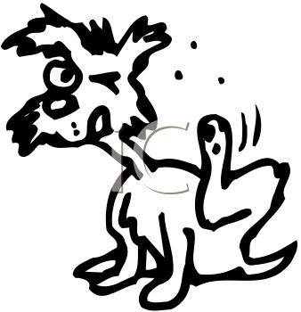 Itchy cartoon dog scratching his fleas