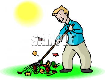 Man raking leaves in the fall or autumn