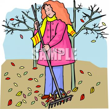 girl or woman raking leaves in the fall or autumn season royalty rh clipartguide com fall season clipart black and white fall season leaves clipart