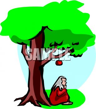 Cartoon of Isaac Newton sitting under an apple tree with an Apple about to hit him on the head