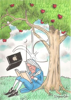 Cartoon of Sir Isaac Newton being hit on the head by a falling Apple Computer