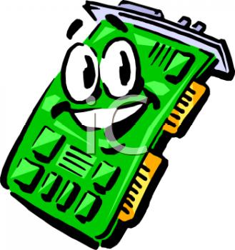 Smiling cartoon circuit board for a PC computer - video card