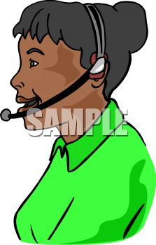 African American woman working as an operator and providing customer service and support