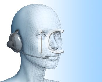 3-D rendered person wearing a telephone headset as an operator would
