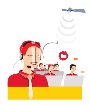 Customer support or call center team wearing headsets and answering the phones