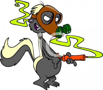Cartoon skunk wearing a gas mask as he emits his stinky odor