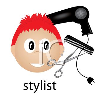 Hairstylist icon with a blow dryer, calm and styling scissors