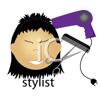 Asian woman hairstylist with comb, scissors and blow dryer