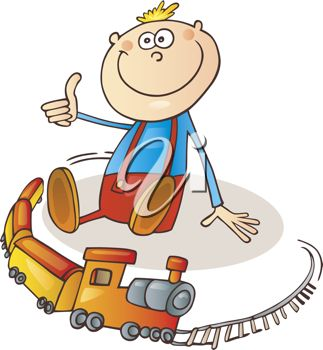 Cartoon of little boy playing with toy train on railroad track