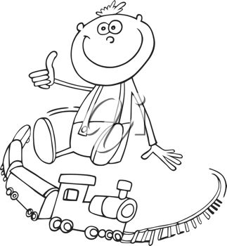 Coloring page of a little boy playing with a toy train