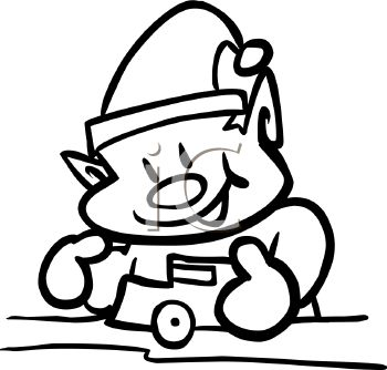 Coloring page of one of Santa's elves building toys