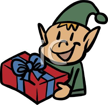 Happy elf with a toy for a child