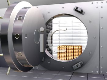Security vault or safe with gold bullion inside