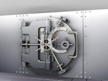 Door of the safe or bank vault that is closed and secure