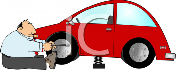 Cartoon of an incompetent man trying to change his tire