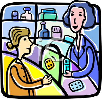a pharmacist talking with a customer regarding her prescription medication