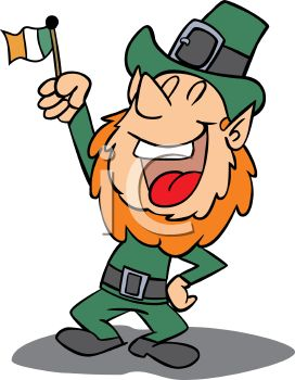 a leprechaun holding an irish flag with one hand on his hip and laughing