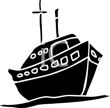 silhouette clip art of a ship sailing on the ocean