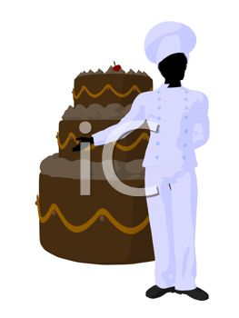 a baker standing next to a beautiful 3 layer wedding cake he created