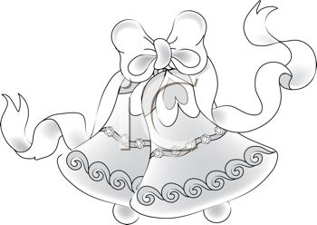 A Black And White Clip Art Of Beautiful Wedding Bells With Ribbon