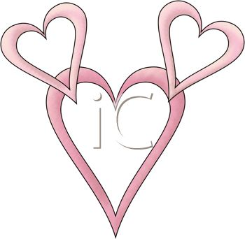 a clip art illustration of a large pink heart, and two small heart connected together