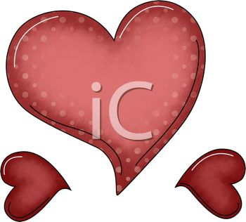 a clip art illustration of a large red heart and two small hearts