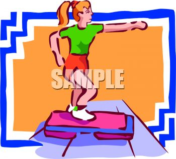 Girl or young woman doing aerobics in a gym