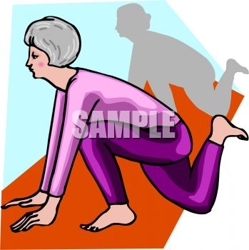 Elderly woman doing exercises and stretching trying to keep healthy