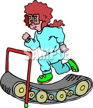 Cartoon of a woman running on a treadmill to get some exercise