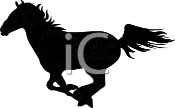 a silhouette illustration of a horse running on a white background