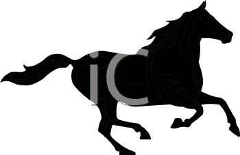 a silhouette clip art of a horse running on a white background