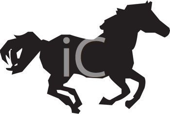 a silhouette of a horse running on a white background