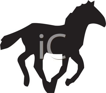 A clip art silhouette of a horse running on a white background