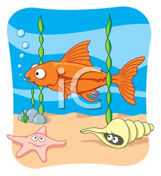 clip art illustration of a gold fish swimming at the bottom of the rh clipartguide com free ocean clipart borders free ocean clipart for teachers
