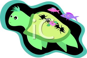 a cartoon clipart illustration of a turtle swimming underwater with fish swimming above him
