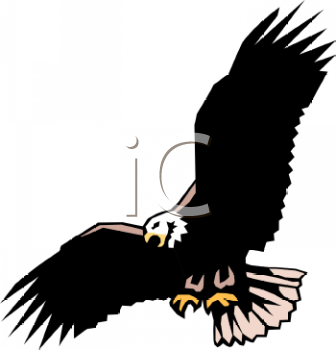 A Clip Art Illustration Of an Eagle flying