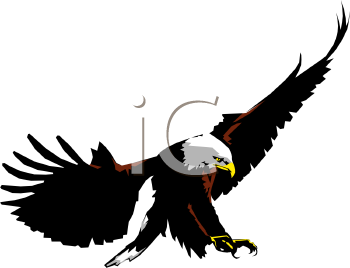 a clip art of an eagle preparing to soar down and pounce on his prey
