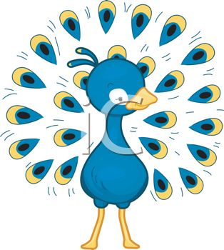 cartoon clip art of a peacock with his beautiful feathers spread out