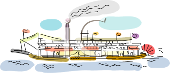cartoon clip art illustration of a cruise ship in the ocean