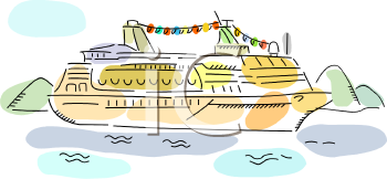clip art illustration of a cruise ship sailing in the sea
